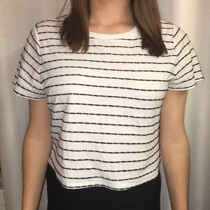 Black and white striped plus size top